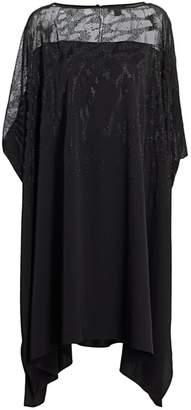 St. John Embellished Stretch Satin Georgette Cocktail Dress
