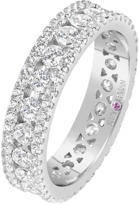 Suzy Levian Sterling Silver CZ White Three Row Modern Eternity Band Ring