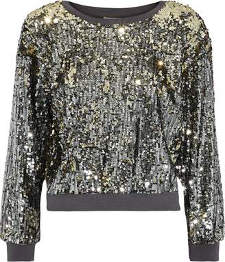 Alice + Olivia Smith Cropped Sequined Stretch-jersey Sweatshirt