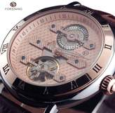 FORSINING Men's Luxry Hollow skeleton Automatic Mechanical Wrist Watch Roman Numerals Dial