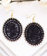 Aili's Corner Women's Earrings Black - Black & Goldtone Oval Floral Crochet Drop Earrings