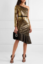 Marchesa Notte - One-sleeve Velvet-trimmed Sequined Cady Dress - Black