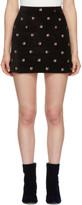 Alexachung Black Embroidered Velvet Miniskirt