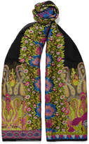 Etro Embroidered Crepon Scarf - Black