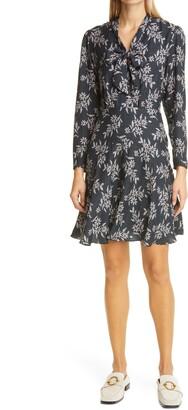 Rebecca Taylor Fleur Long Sleeve Fit & Flare Silk Dress