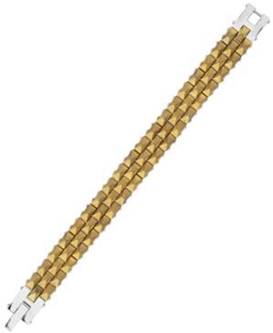 Sutton by Rhona Sutton Sutton Stainless Steel Gold-Tone Three Row Studded Link Bracelet