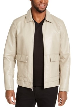 INC International Concepts Inc Men's Harrington Faux Leather Embossed Jacket, Created for Macy's