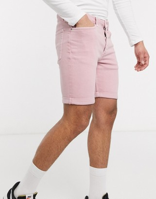 Topman skinny denim shorts in pink