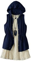 Knitworks Girls 7-16 Hooded Vest & Lace Dress Set with Necklace