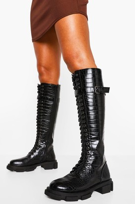 boohoo Croc Lace Up Buckle Knee High Hiker Boot