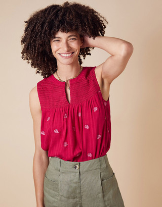 Monsoon Rose Floral Embroidered Tank Top Pink