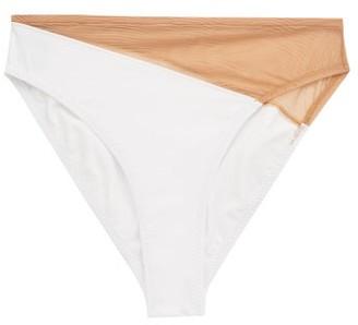 Norma Kamali Snake High-rise Mesh-panel Bikini Briefs - White