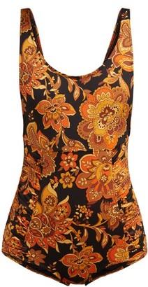 Dodo Bar Or Adinna Scoop-back Floral-print Swimsuit - Black Print