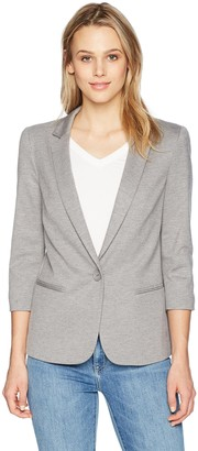 James Jeans Women's Shrunken Tuxedo Slim Collar Jacket in Heather Grey Ponte S