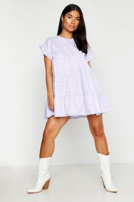 boohoo Petite Broderie Anglaise Smock Dress