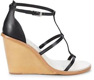 Dolce Vita Jeana T-Strap Wedge Leather Sandals