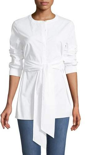 St. John Cotton Stretch Poplin Button-Down Blouse