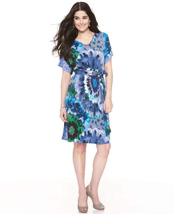 NY Collection Dress, Short Sleeve Printed Belted V-Neck Jersey