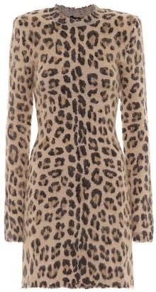 Unravel Leopard-print wool-blend minidress