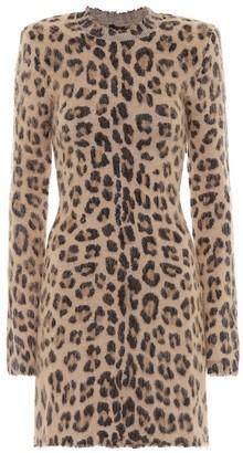 Unravel Leopard-print wool-blend minidress