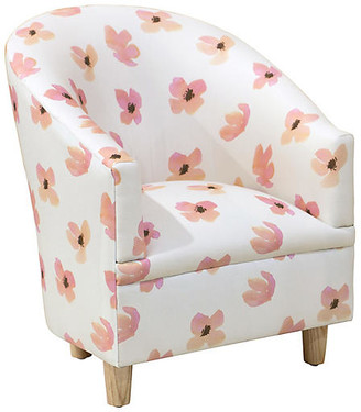 One Kings Lane Ashlee Kids' Accent Chair - Pink Petals - frame, natural; upholstery, pink petals