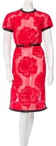 Christopher Kane Leather-Trimmed Lace Dress