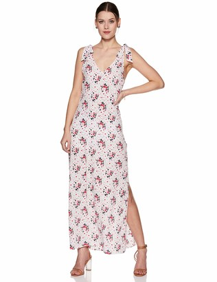 Oasis Wild Women's Floral Printed V-Neck Dress with Shoulder Ties Small White.