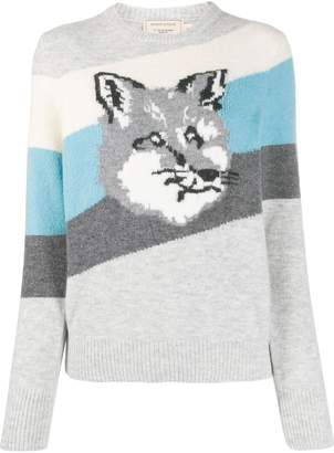 MAISON KITSUNÉ Fox striped knit sweater