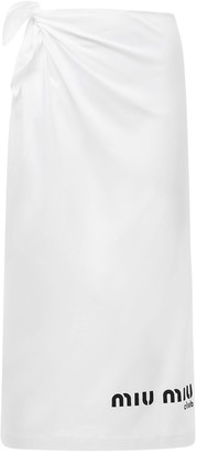 Miu Miu Cotton Jersey Pencil Skirt W/side Logo