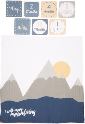 Lulujo Baby's First Year - I Will Move Mountains Muslin Blanket & Milestone Card Set