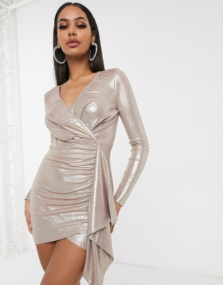 Femme Luxe wrap front ruffle side bodycon dress in light gold