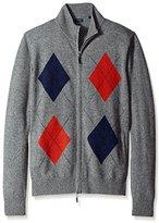 Thirty Five Kent Men's Diamond Pattern Cashmere Full-Zip Sweater