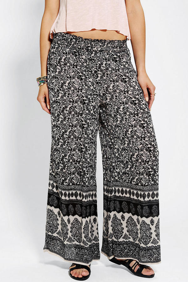 Urban Outfitters Angie Boho-Print Wide-Leg Pant