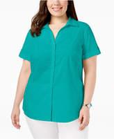 Karen Scott Plus Size Cotton Roll-Tab Shirt, Created for Macy's