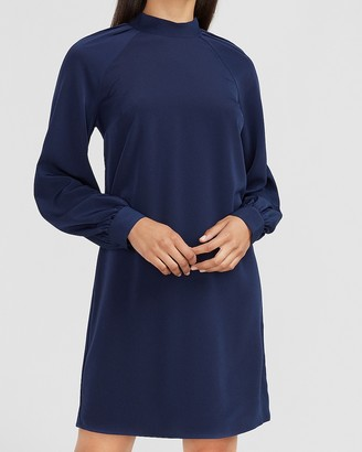 Express Mock Neck Tie Back Shift Dress