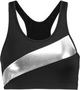 Norma Kamali Metallic-paneled stretch-jersey sports bra