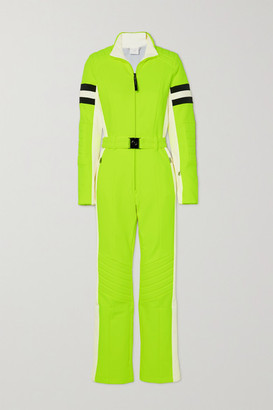 Bogner Cat Belted Striped Neon Stretch-ponte Ski Suit - Bright green
