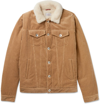Brunello Cucinelli Shearling-Lined Cotton And Cashmere-Blend Corduroy Trucker Jacket
