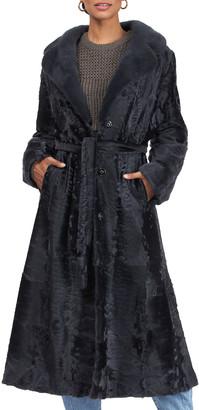 Gorski Lamb Belted Short Coat w/ Mink Fur Collar