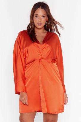 Nasty Gal Womens V-Neckline Plus Size Mini Dress in Satin - Orange