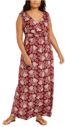 NY Collection Plus Size Floral-Print Empire-Waist Maxi Dress