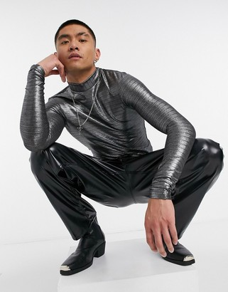 ASOS DESIGN co-ord muscle long sleeve t-shirt with turtleneck in silver metallic