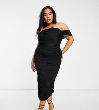 Jaded Rose Plus exclusive drape midaxi dress in black