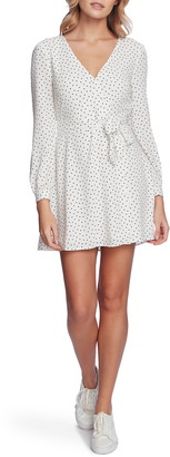 1 STATE 1.STATE Vintage Scatter Dot Wrap Front Long Sleeve Dress