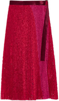 Sacai Velvet-trimmed Pleated Lace Wrap Skirt - Red