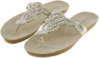Monsoon Beaded Toe-Post Sandals Gold