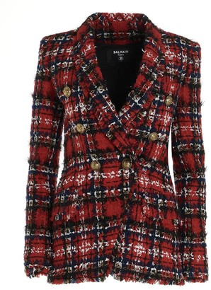 Balmain Tartan Tweed Double-Breasted Blazer