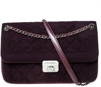 Chanel Dark Purple Quilted Fabric Chic With Me Shoulder Bag
