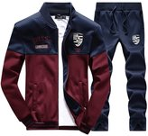 Rocky Sun Mens Long Sleeve Zip Up Baseball Tracksuits Jacket & Pants R/B S