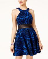 City Studios Juniors' Illusion Flocked Fit and Flare Dress